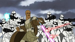 Mace-Windu-shielding-clone-troopers-on-Dantooine